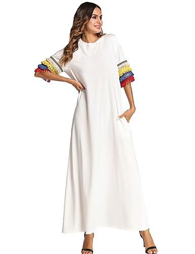 3c8d99b1367d5 فستان نسائي قياس كبير كلاسيكي عصري مكشكش طويل للأرض فضفاض قوس قزح
