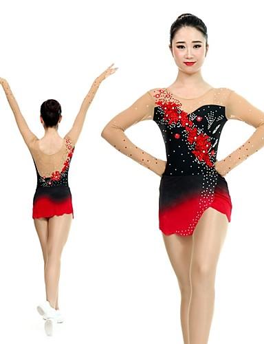c9a2826dc85e Rhythmic Gymnastics Leotards Artistic Gymnastics Leotards Women's Girls'  Leotard Red High Elasticity Handmade Print Shading Long Sleeve Competition  Ballet ...