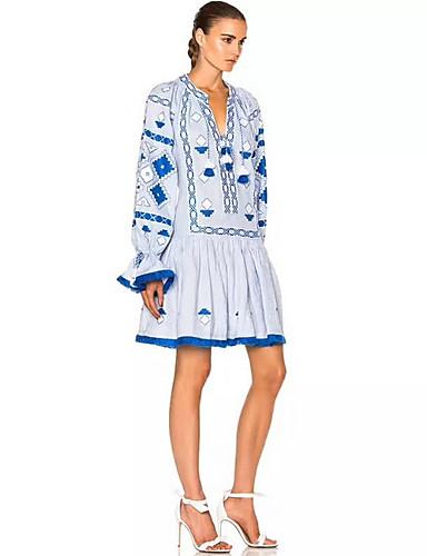 Damskie Moda miejska T Shirt Sukienka - Wielokolorowa Przed kolano