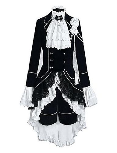 """billige Anime cosplay-Inspirert av Svart Tjener Ciel Phantomhive Anime  """"Cosplay-kostymer"""" Japansk Cosplay Klær Fargeblokk / Lapper Langermet Vest / Trøye / Skjørte Til Herre / Dame / Hodeplagg"""