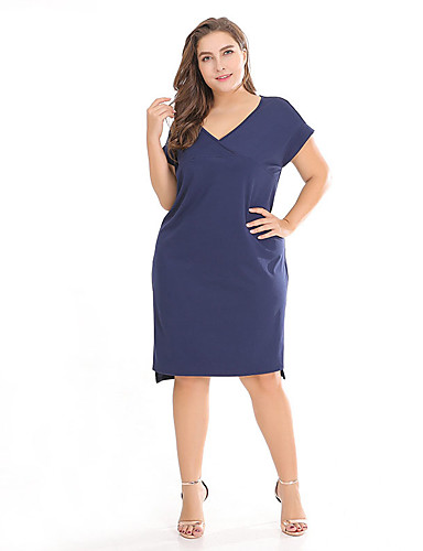 aa9c8373f78 Women s Plus Size Daily Going out Vintage Chinoiserie Petal Sleeves Slim  Bodycon Sheath Dress - Solid Colored Black   Red Deep V Summer Navy Blue XL  XXL ...