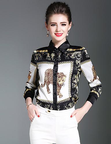billige Topper til damer-Skjortekrage Skjorte Dame - Dyr, Trykt mønster Gatemote Arbeid