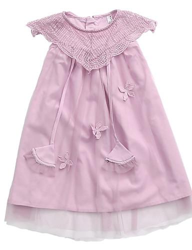 Dzieci Dla dziewczynek Jendolity kolor Bez rękawów Sukienka
