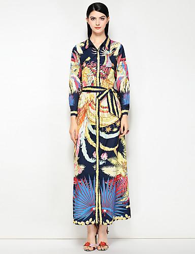 4adf6ffcb386 Γυναικεία Αργίες Κομψό στυλ street Βαμβάκι Πουκάμισο Φόρεμα - Φλοράλ    Λεοπάρ Μακρύ Κολάρο Πουκαμίσου 6658050 2019 –  109.99