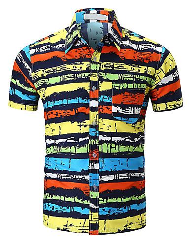 abordables Camisas de Hombre-Hombre Básico Estampado - Algodón Camisa Delgado Geométrico / Bloques Arco Iris L / Manga Corta / Primavera / Verano