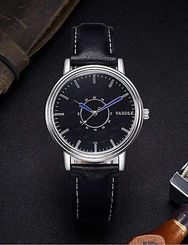 YAZOLE Męskie Kwarcowy Zegarek na nadgarstek Chiński Wodoszczelny Skóra Pasmo Minimalistyczny Czarny Brązowy