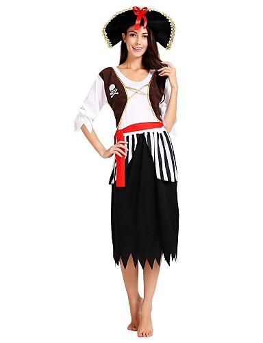 voordelige Cosplay & Kostuums-Pirates of the Caribbean Kostuum Dames Halloween Halloween Carnaval Maskerade Festival / Feestdagen Polyster Zwart Carnaval Kostuums Effen Gestreept Halloween