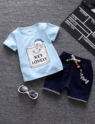 Brzdąc Dla chłopców Kot Nadruk Krótki rękaw Komplet odzieży