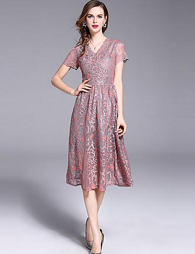 288505b82e01 Women s Lace Plus Size Daily Slim Skater Dress - Floral V Neck Summer Orange  Beige Yellow XXL XXXL XXXXL