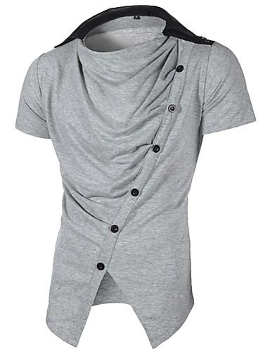 billige T-shirts og undertrøjer til herrer-Rund hals Herre - Ensfarvet Aktiv Plusstørrelser T-shirt Sort XL / Kortærmet / Sommer / Efterår