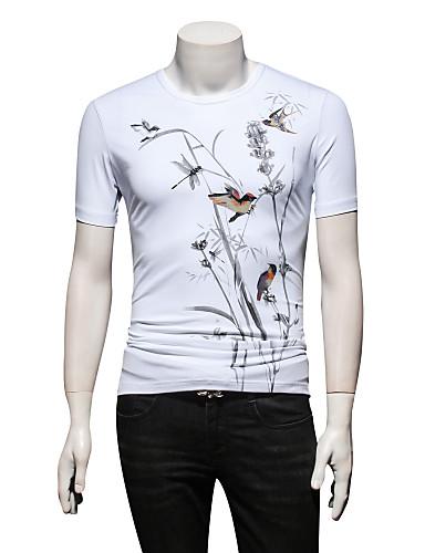 Bărbați Rotund - Mărime Plus Size Tricou Mătase Animal / Va rugăm selectați cu o mărime mai mare decât purtați. / Manșon scurt / Zvelt