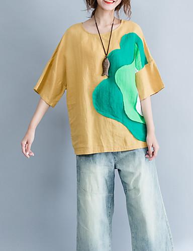 T-shirt Damskie Podstawowy, Patchwork Bawełna Półgolf Kolorowy blok / Lato