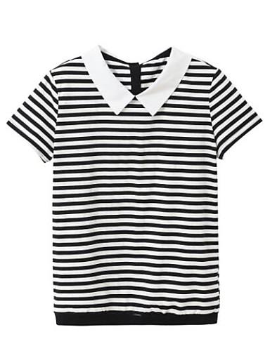 Pentru femei Guler Cămașă Tricou Dungi