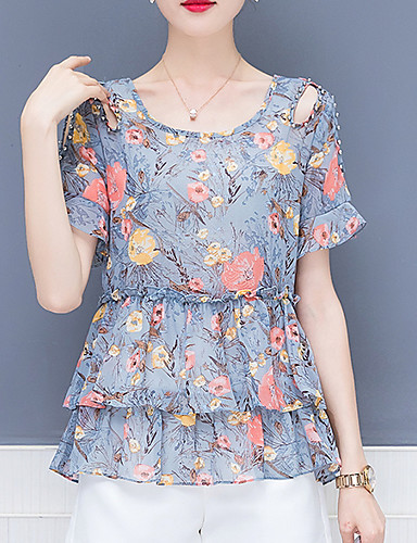 bluza pentru femei - gât rotund geometric / floral