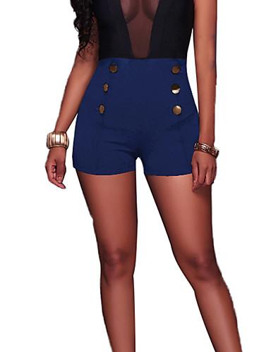 billige Tights til damer-Dame Grunnleggende Store størrelser Daglig Ferie Skinny Shorts Bukser - Ensfarget Høy Midje Bomull Vin Lyseblå Marineblå XL XXL XXXL