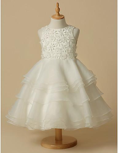 72c56d6317d5 Γραμμή Α Μέχρι το γόνατο Φόρεμα για Κοριτσάκι Λουλουδιών - Δαντέλα    Οργάντζα Αμάνικο Scoop Neck