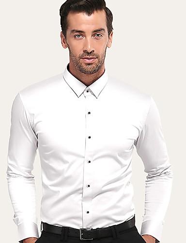 Erkek Pamuklu Gömlek Solid İş / Temel Parti / Çalışma Beyaz / Kısa Kollu / Uzun Kollu