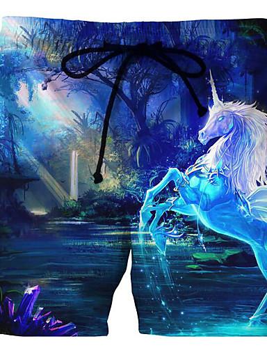 voordelige Herenondergoed & Zwemkleding-Heren Grote maten Standaard blauw Zwembroek Eendelig Zwemkleding - dier XXXXL XXXXXL XXXXXXL blauw
