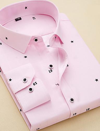 voordelige Herenoverhemden-Heren Zakelijk / Standaard Overhemd Werk Geometrisch Licht Blauw / Lange mouw