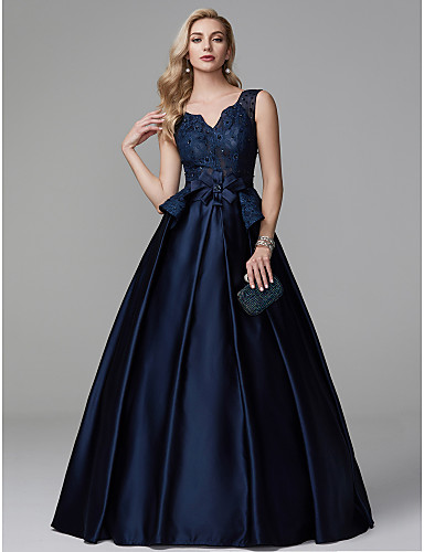 560fe2a9b4a1 A-Line V Neck Floor Length Lace / Satin Lace Up Formal Evening Dress with  Beading / Sash / Ribbon by TS Couture®