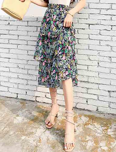 Pentru femei Linie A Ieșire Maxi / Midi Fuste - Floral Talie Înaltă