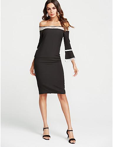 צווארון V מותניים גבוהים בסיסי, אחיד - שמלה צינור רזה בגדי ריקוד נשים