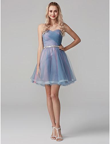 Linha A Decote Princesa Curto / Mini Tule Baile de Formatura Vestido com Faixa / Fita / Cruzado de TS Couture®