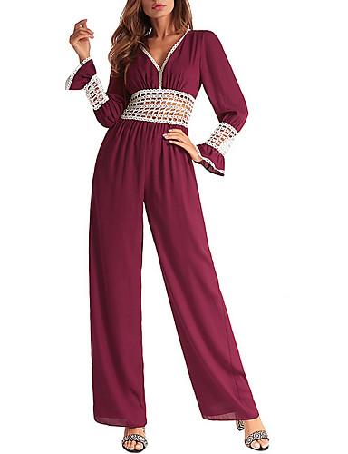 ieftine Designers-Pentru femei Zilnic În V Negru Roșu Vin Picior Larg Salopete, Mată L XL XXL Manșon Lung