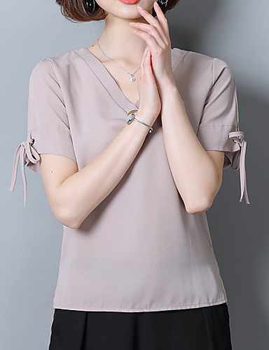 Bluzka Damskie Luźna - Jendolity kolor