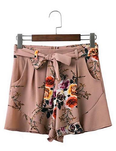 Damskie Vintage Typu Chino Spodnie Kwiaty