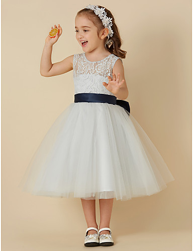 24e87cc3095e A-Line Knee Length Flower Girl Dress - Lace / Tulle Sleeveless Scoop Neck  with Bow(s) / Sash / Ribbon by LAN TING BRIDE®