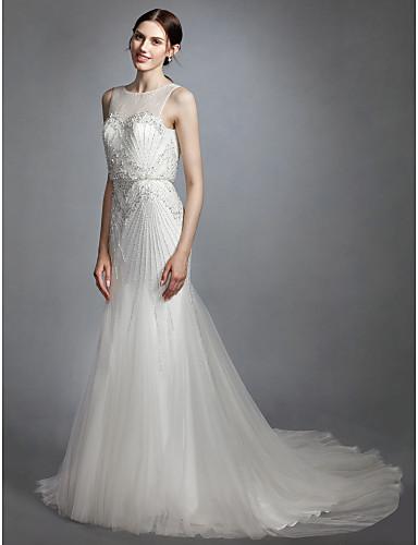 Trompete / Meerjungfrau Illusionsausschnitt Hof Schleppe Spitze / Tüll Maßgeschneiderte Brautkleider mit Perlenstickerei durch LAN TING