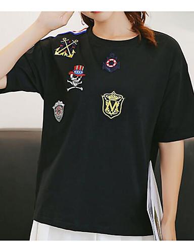 Pentru femei Tricou Vintage - Mată Plisată Alb negru