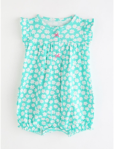 cheap With Lovely Romper-Baby Girls' Basic Solid Colored Sleeveless Cotton Romper Green