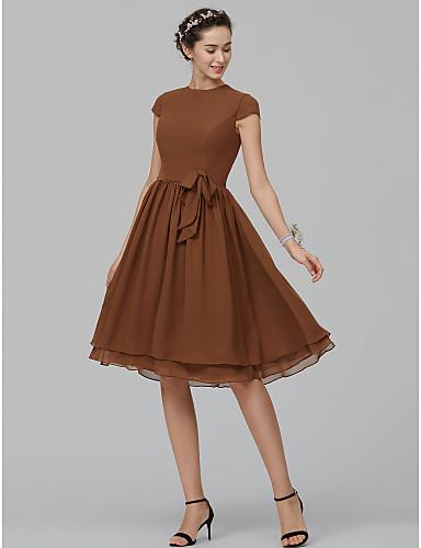 A-الخط جوهرة طول الركبة شيفون فستان الاشبينة مع شريط و شاح بواسطة LAN TING BRIDE®
