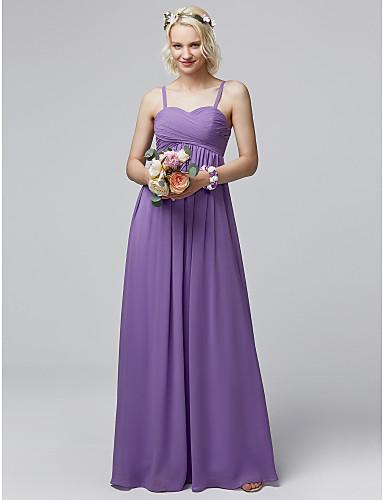 66cb0480bffb4 Sheath / Column Spaghetti Strap Floor Length Chiffon Bridesmaid Dress with  Criss Cross by LAN TING BRIDE® / Open Back