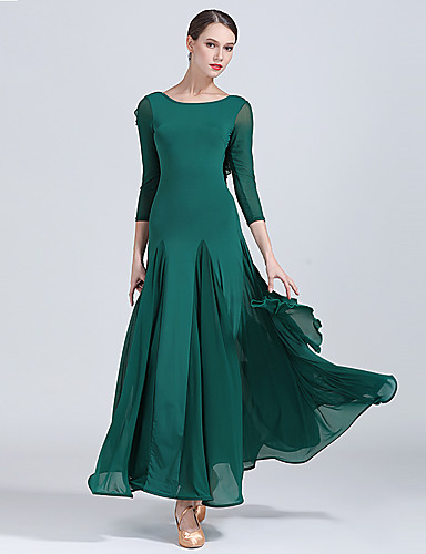 589271eb1e5a Ballroom Dance Dresses Women's Training / Performance Tulle / Milk Fiber  Draping / Split Joint High Dress