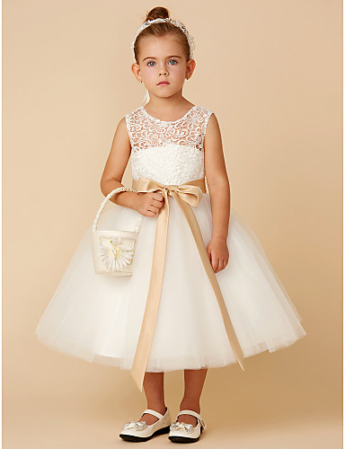 f6f880e4c2e8 Princess Tea Length Flower Girl Dress - Lace / Tulle Sleeveless Jewel Neck  with Bow(s) / Sash / Ribbon by LAN TING BRIDE®