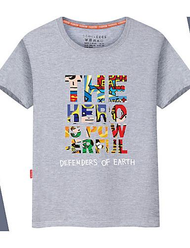 voordelige Uitverkoop-Heren Standaard T-shirt Effen / Regenboog / Letter Ronde hals Zwart / Korte mouw