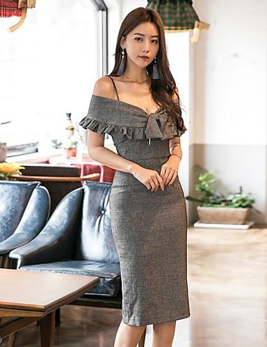 Pentru femei Club Zvelt Bodycon Rochie Cu Bretele Talie Înaltă Midi / Sexy