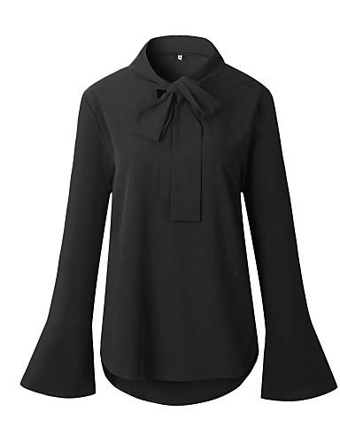 Pentru femei Tricou Bumbac Vintage - Mată Mâneci Bufante, Franjuri Alb negru
