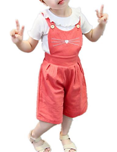 Bebelus Fete De Bază Mată Manșon scurt Set Îmbrăcăminte / Copil