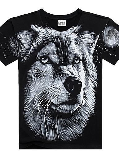 Bărbați Tricou Exagerat - Bloc Culoare / Animal Imprimeu Lup