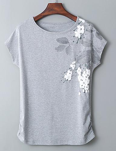 hesapli Tişört-Kadın's Pamuklu Tişört Desen, Solid / Geometrik Temel Büyük Bedenler Yonca / Yaz