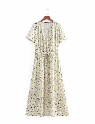 Pentru femei Vintage Mâneci Bufante Shift Rochie - Plisată, Mată / Geometric Lungime Genunchi Alb negru
