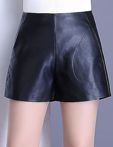 Pentru femei Activ Mărime Plus Size Bumbac Pantaloni Scurți Pantaloni - Mată Alb negru, Plisată Negru