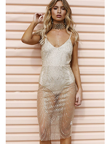 Women s Party   Weekend Basic Slim Bodycon Dress - Solid Colored Mesh Deep V  Summer Gold Silver M L XL   Sexy 6768185 2019 –  19.63 5b19de3cd