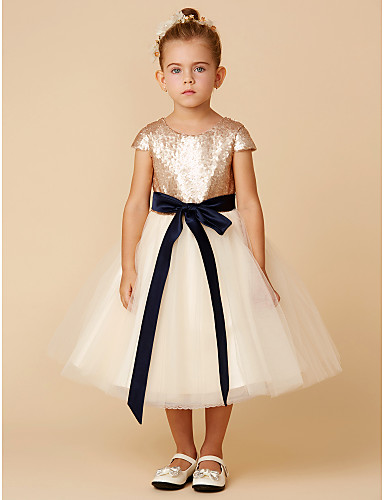 eed8f5af9eb Princess Tea Length Flower Girl Dress - Tulle   Sequined Short Sleeve Jewel  Neck with Sequin   Bow(s)   Sash   Ribbon by LAN TING BRIDE®  04321849