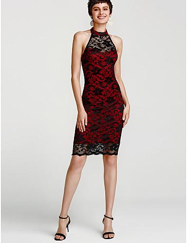 Women's Club Street chic Bodycon Dress - Color Block Blue, Lace Backless Mini Halter