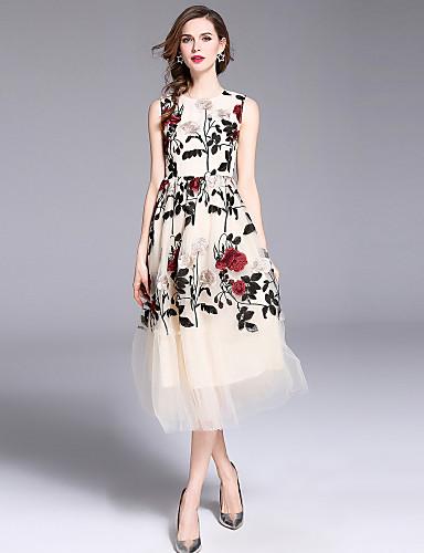 voordelige Maxi-jurken-Dames Feestdagen Uitgaan Street chic Verfijnd A-lijn Wijd uitlopend Jurk - Bloemen, Netstof Geborduurd Maxi